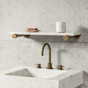 "Elemental Accessory Shelf Aged Brass / Antique Gray Limestone / 24"" Product Image"