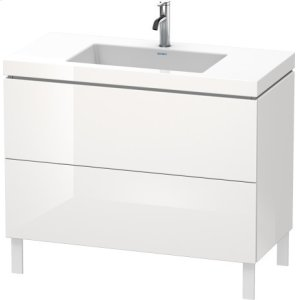 Furniture Washbasin C-bonded With Vanity Floorstanding, White High Gloss Lacquer