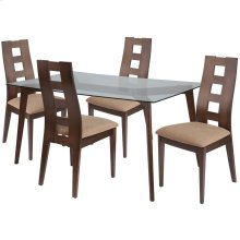 5 Piece Walnut Wood Dining Table Set with Glass Top and Window Pane Back Wood Dining Chairs - Padded Seats