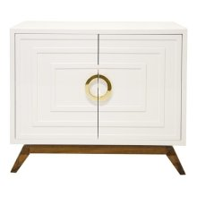 White Lacquer 2 Door Cabinet With Stained Hardwood Base and Brass Hardware. Interior Is Comprised of One Single Adjustable Shelf With Drill Outs.