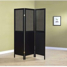 Contemporary Black Three-panel Screen