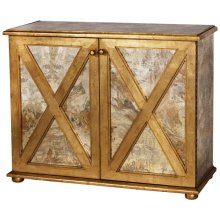 Reversed Antique Mirror Crosshatch 2-door Cabinet With One Interior Shelf and Gold Leaf Detailing.