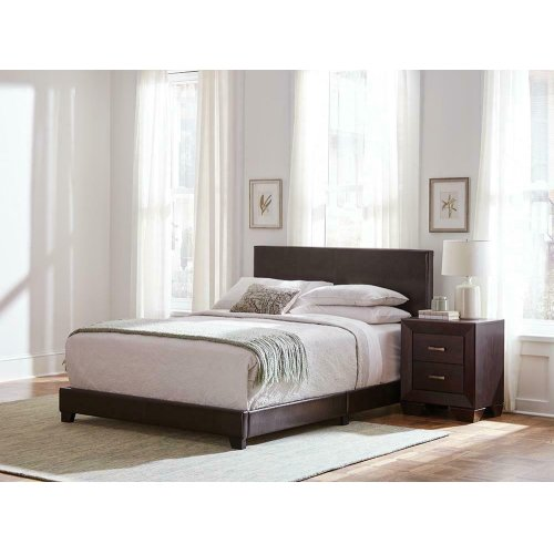 Dorian Brown Faux Leather Upholstered Full Bed