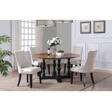 "60"" Round Table w/ 4 Edge Drop Leaves and 4 Chairs"