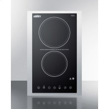 """230v 2-burner Cooktop In Black Ceramic Schott Glass With Digital Touch Controls and Stainless Steel Frame To Allow Installation In 15"""" Wide Counter Cutouts, 3000w"""