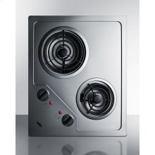 2-burner 230v Electric Cooktop Designed for Portrait or Landscape Installation, With Coil Elements and Stainless Steel Finish