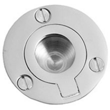 """Antique Brass Unlacquered Flush ring, 1 3/4"""" diameter"""