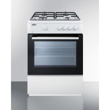 """24"""" Wide 'slide-in' Look Gas Range With Sealed Burners, Waist-high Broiler, Storage Compartment, Large Black Glass Oven Window, and White Cabinet"""