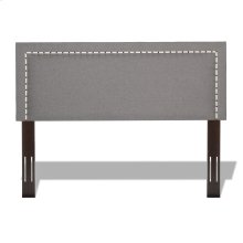 Wellford Upholstered Headboard with Adjustable Height and Contrast Tape Nailhead Trim, Jitterbug Ash Finish, Full / Queen