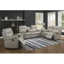 Kenzie Ivory Reclining Sofa with Drop-Down Table