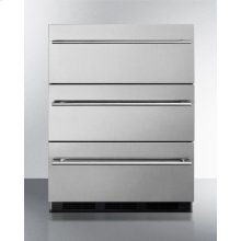 Commercially Approved ADA Compliant Three-drawer Refrigerator In Stainless Steel for Built-in or Freestanding Use, With Thin Handles
