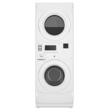 Commercial Electric Stack Washer/Dryer, Non-Vend and Card Reader-Ready White