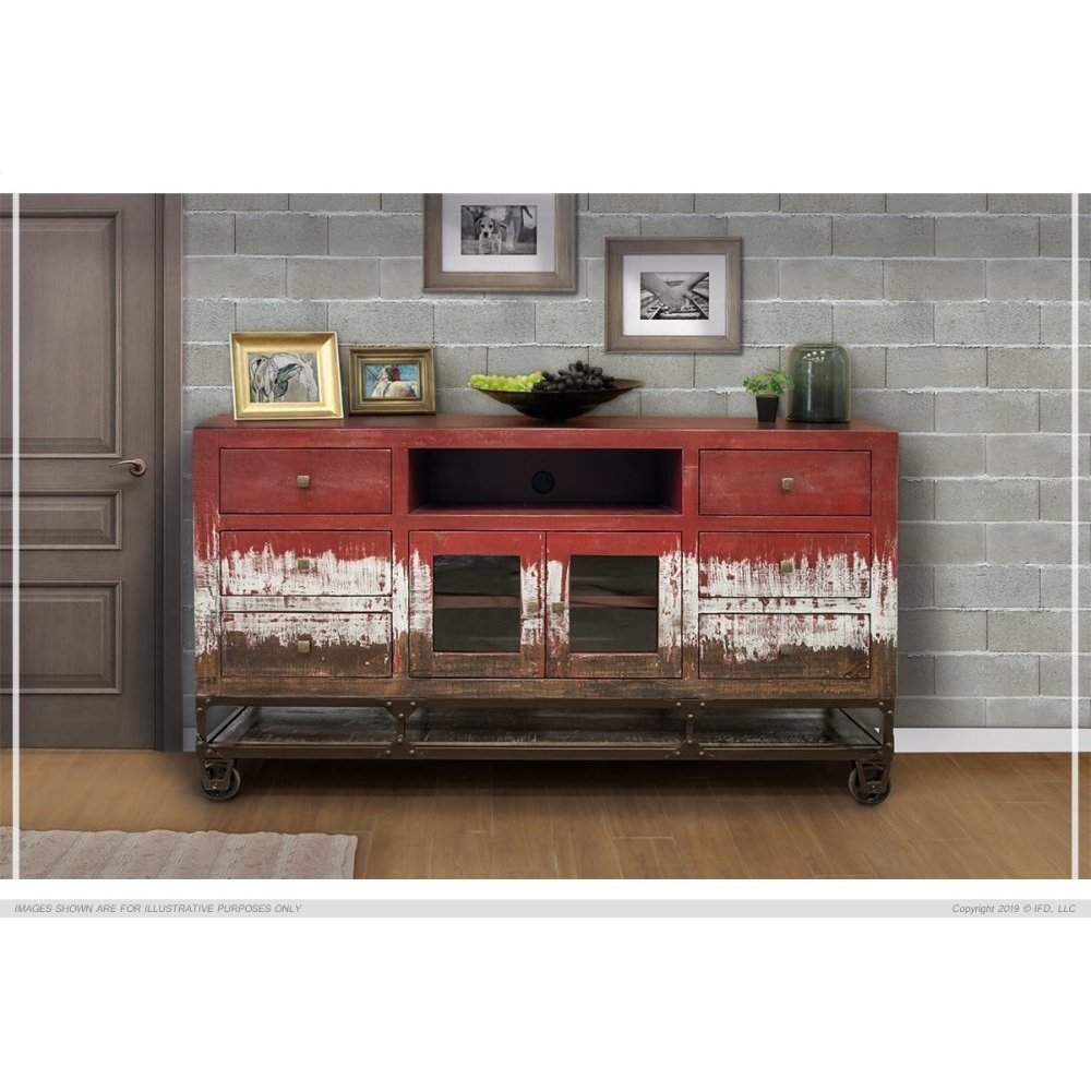 6 Drawer, 2 Door, TV Stand Red Finish