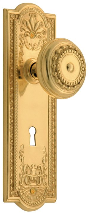 Nostalgic - Mortise - Meadows Plate with Meadows Knob and Keyhole in Polished Brass Product Image