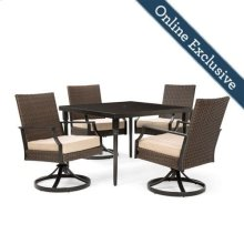 Addyson 5pc Cushioned Dining Set (Square table and 4 swivel)