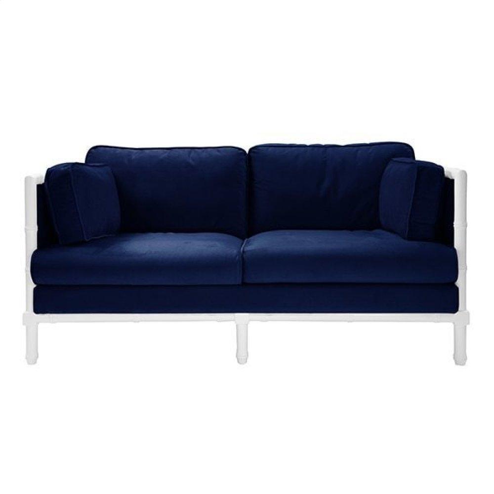 Bamboo Edge White Lacquer Sofa In Navy Velvet