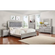 Christopher Mirrored Nightstand in Silver Finish