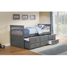 Bennett Gray Twin Bed with Trundle & 3 Storage Drawers