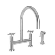 White Kitchen Bridge Faucet with Side Spray