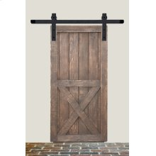8' Barn Door Flat Track Hardware - Rough Iron Round End Carrier Style