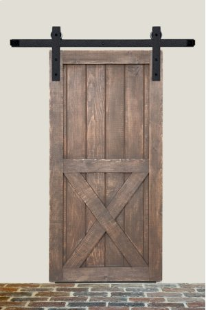 8' Barn Door Flat Track Hardware - Rough Iron Round End Carrier Style Product Image
