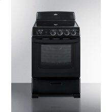"""24"""" Wide Smooth-top Electric Range In Black, With Lower Storage Drawer and Oven Window; Available Winter 2018 To Replace Model Rex243b"""