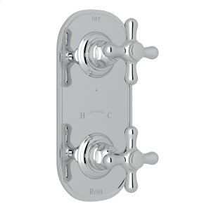 """Polished Chrome Verona 1/2"""" Thermostatic/Diverter Control Trim with Verona Series Only Cross Handle Product Image"""