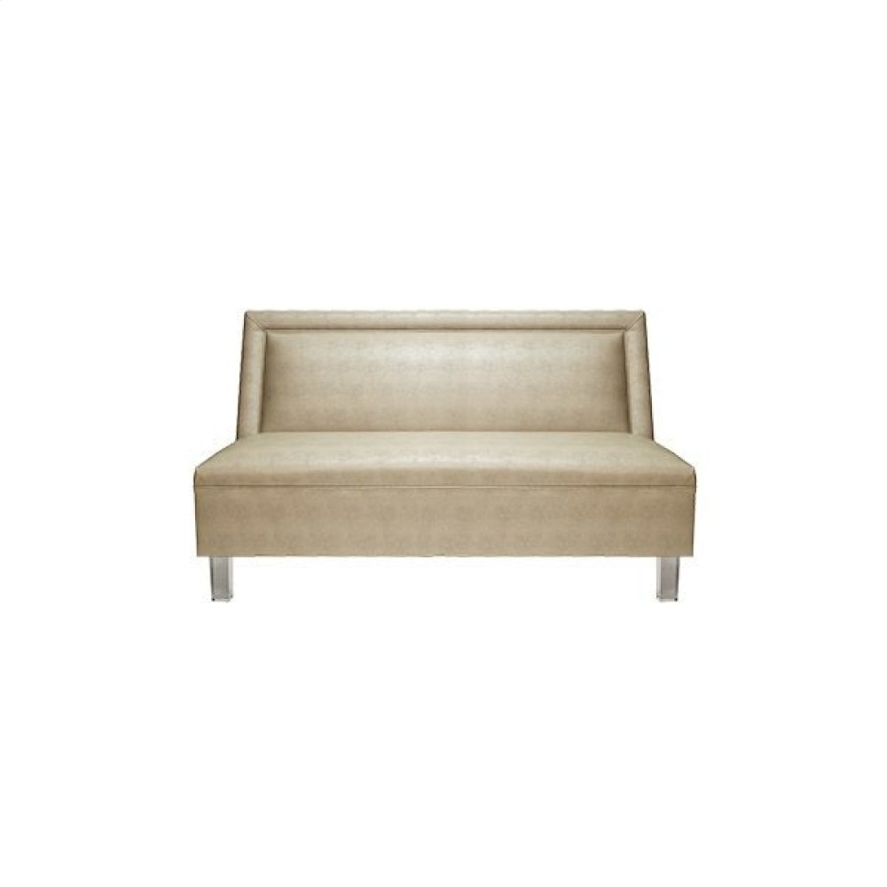 Armless Settee With Acrylic Legs In Beige Faux Shagreen