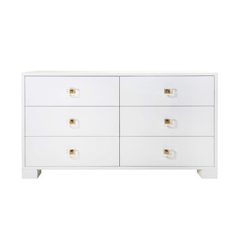 Six Drawer Dresser With Brass and Acrylic Hardware In White Lacquer