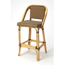 Evoking images of sidewalk tables in the Cote d'Azur, barstools like this will give your kitchen or patio the casual sophistication of a Mediterranean coastal bistro. Skillfully crafted from thick bent rattan for superb durability, it features weather res