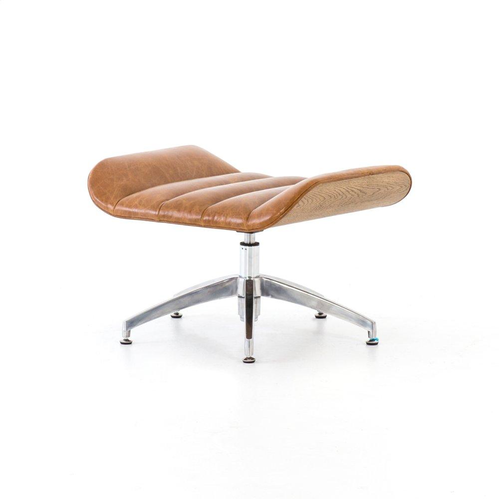 Ottoman Configuration Camel Leather Cover Edison Swivel Chair + Ottoman