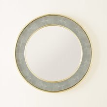 Round Shagreen Mirror-Sea Foam Grey