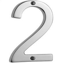 """Antique Brass Unlacquered Door numeral """"2"""""""