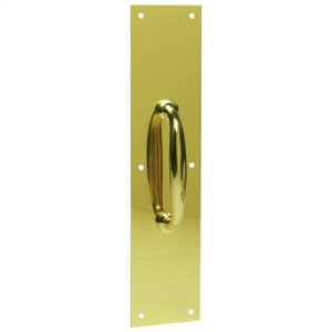 "Door Accessories  3.5"" x 15"" Pull Plate with Decorative Pull - Bright Brass Product Image"