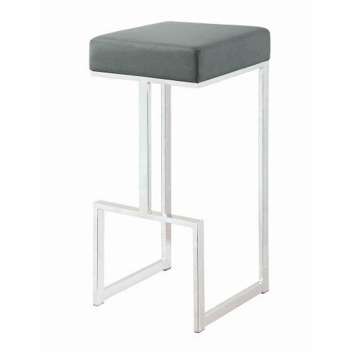 "Contemporary Chrome and Grey 29"" Bar Stool"