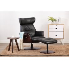 Stockholm Recliner and Ottoman in Black Breathable Air Leather