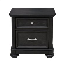 Kids 2 Drawer USB Charging Nightstand in Charcoal Brown
