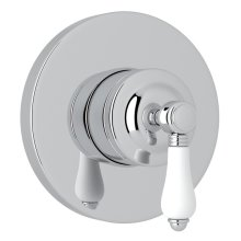 Polished Chrome Italian Bath 4-Port, 3-Way Diverter Trim with White Porcelain Lever