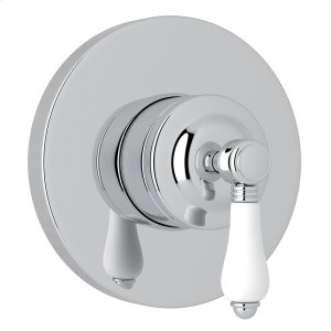 Polished Chrome Italian Bath 4-Port, 3-Way Diverter Trim with White Porcelain Lever Product Image