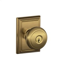 Andover Knob with Addison trim Keyed Entry Lock - Antique Brass