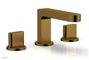 ROND Widespread Faucet - Blade Handles Low Spout 183-04 - French Brass Product Image