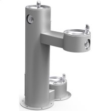 Elkay Outdoor Fountain Bi-Level Pedestal with Pet Station, Non-Filtered Non-Refrigerated, Freeze Resistant, Gray