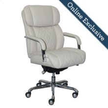 Sutherland Quilted Leather Office Chair, Light Ivory