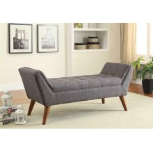 Grey Mid-century Modern Accent Bench