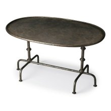 For those that dare to be different comes this distinctive metal cocktail table. Constructed from steel and aluminum, it features a striking base of turned posts and a pipe-effect base with six feet in a textured pewter finish.