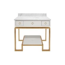 White Lacquer Bath Vanity Paired With Gold Leaf Base & Hardware