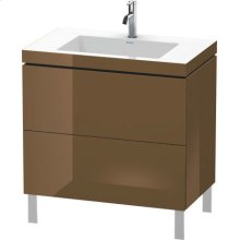 Furniture Washbasin C-bonded With Vanity Floorstanding, Olive Brown High Gloss Lacquer