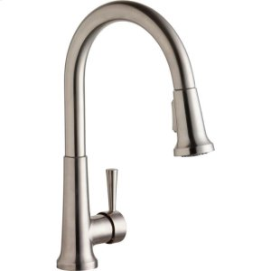 Elkay Everyday Single Hole Deck Mount Kitchen Faucet with Pull-down Spray Forward Only Lever Handle Lustrous Steel Product Image