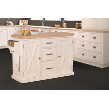 Brigham Kitchen Island In White With Natural Wood Top
