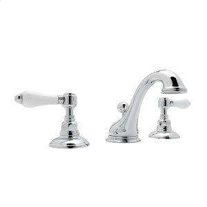 Polished Chrome Viaggio C-Spout Widespread Lavatory Faucet with White Porcelain Lever Product Image